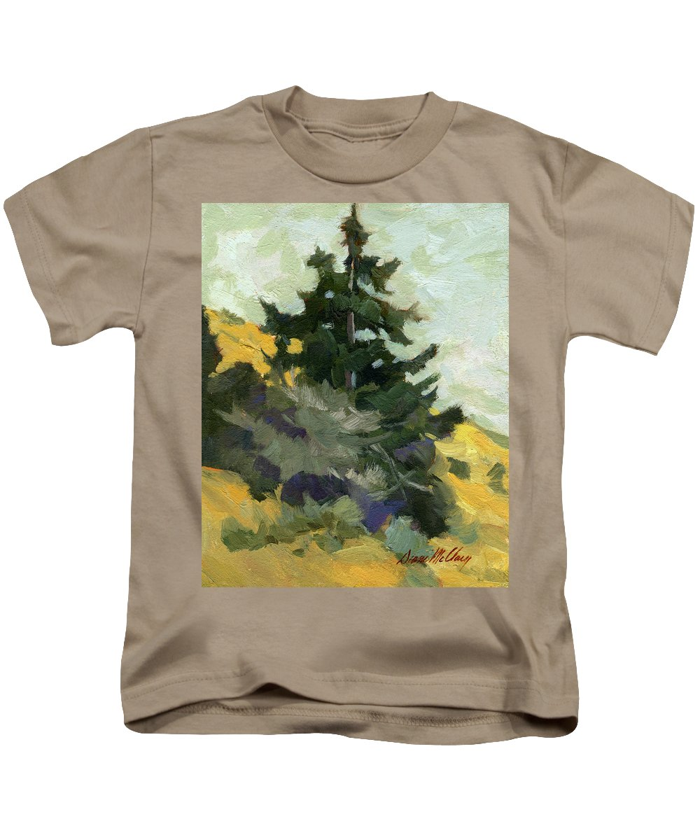 Douglas Fir Kids T-Shirt featuring the painting Douglas Fir In Washington by Diane McClary