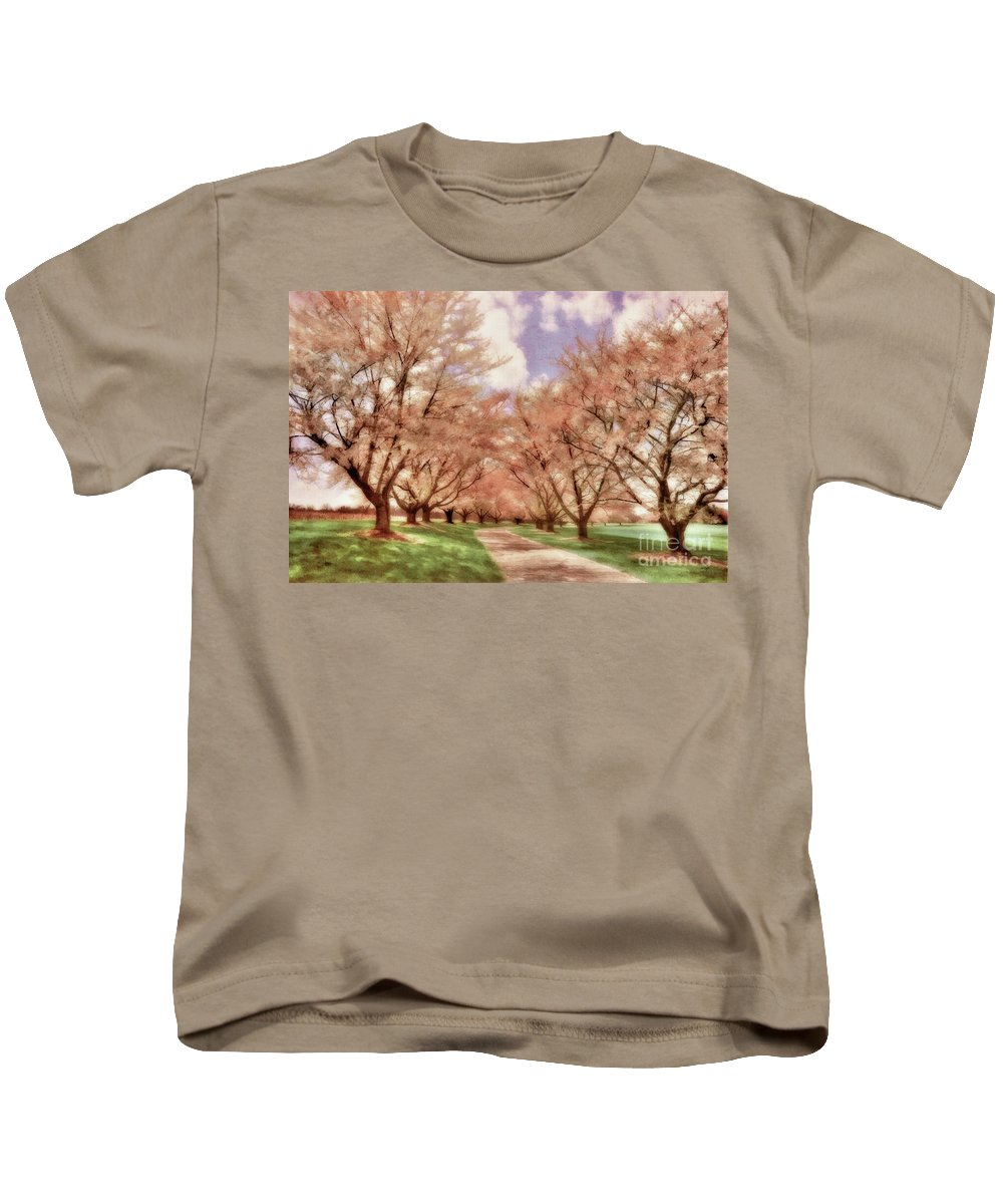 Maryland Kids T-Shirt featuring the photograph Down The Cherry Lined Lane by Lois Bryan