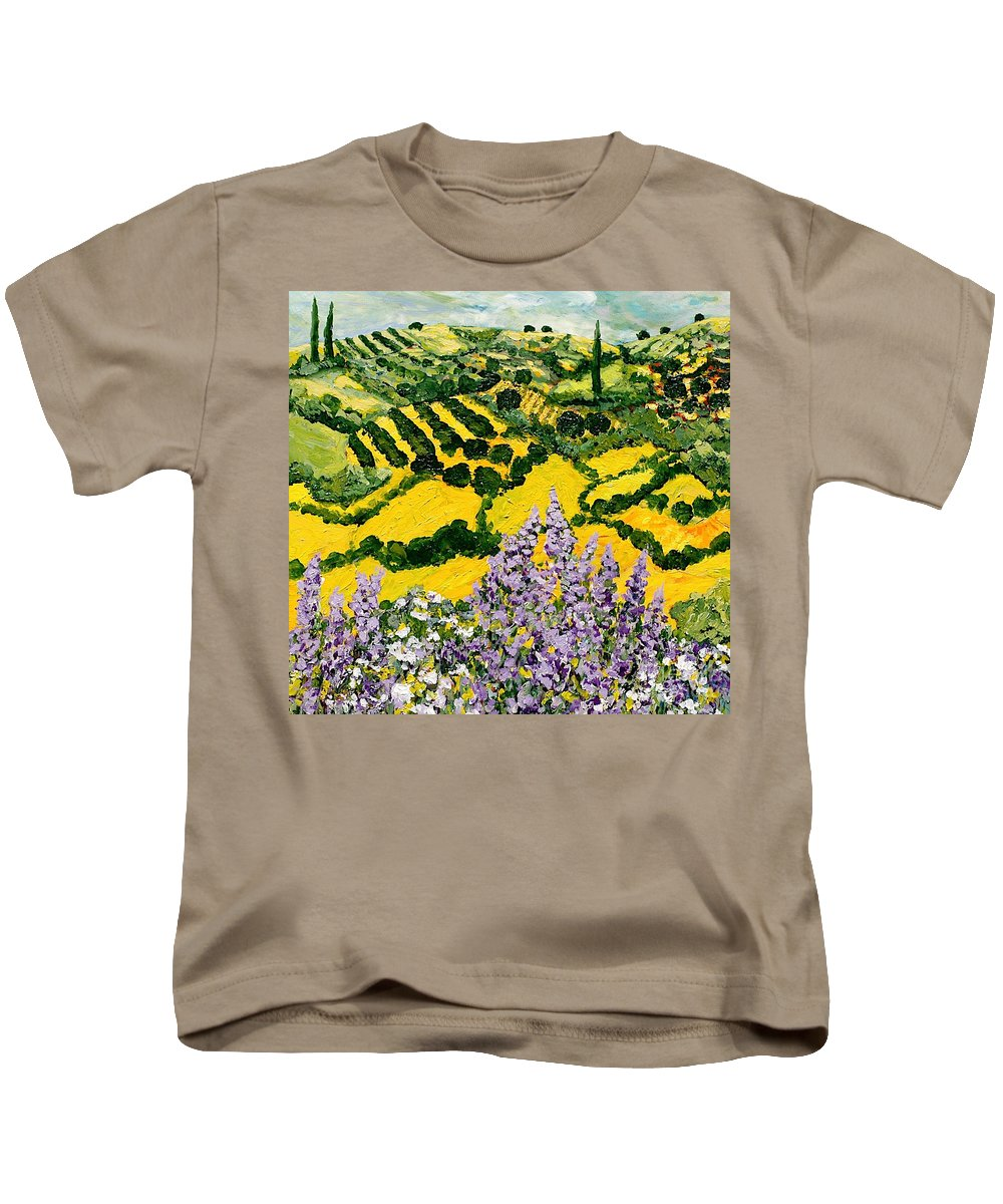 Landscape Kids T-Shirt featuring the painting Down The Hill by Allan P Friedlander