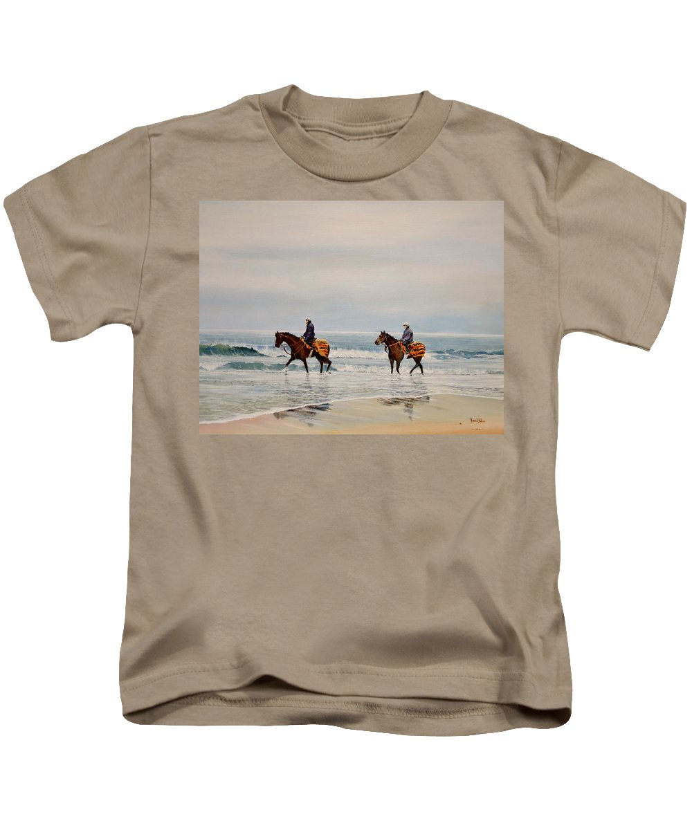 Horses Kids T-Shirt featuring the painting Early Morning Paddle by Barry BLAKE