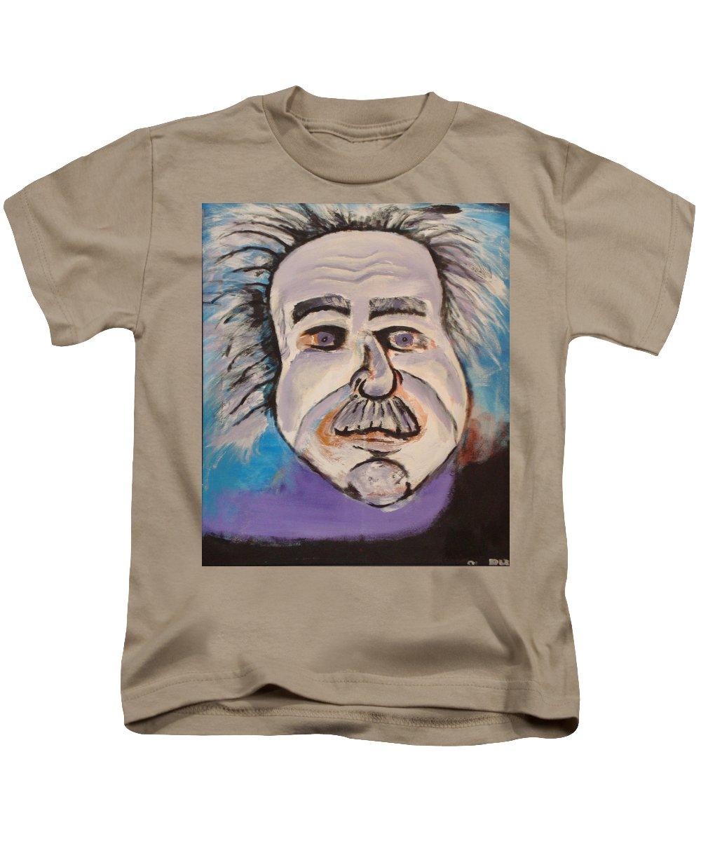 Rick Huotari Kids T-Shirt featuring the painting Einstein by Rick Huotari