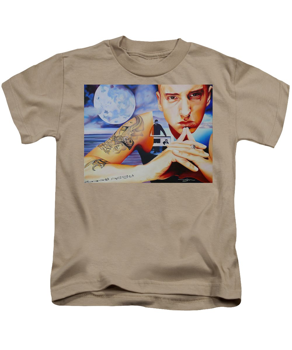Emminem Kids T-Shirt featuring the painting Emminem by Joshua Morton
