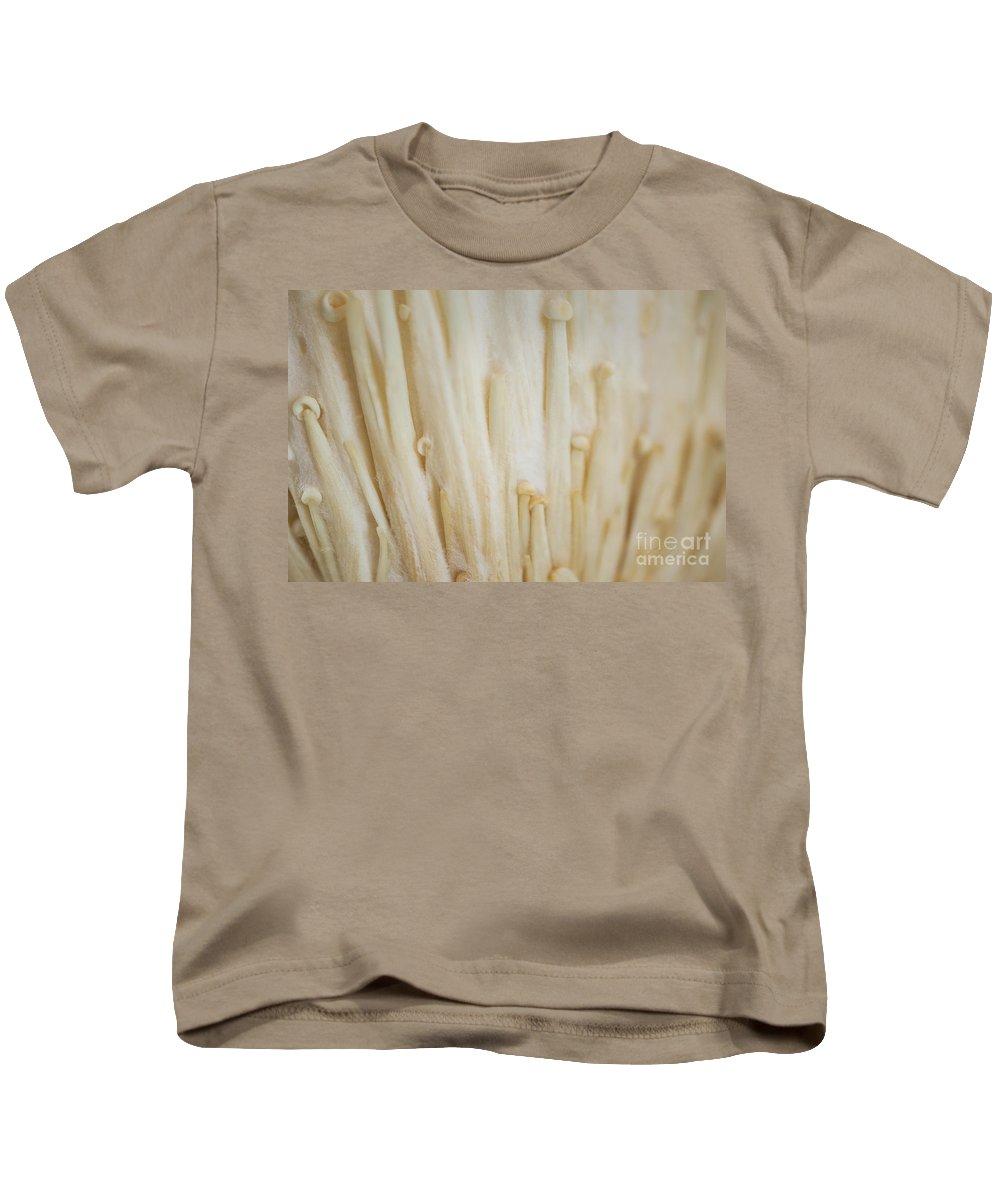 Enoki Mushroom Kids T-Shirt featuring the photograph Enoki Mushroom by Iris Richardson