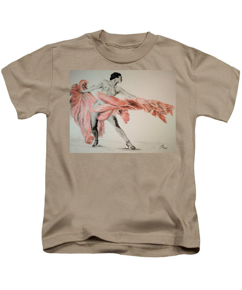 Figure Drawing Kids T-Shirt featuring the drawing Fan Dancer 2 by Tim Brandt