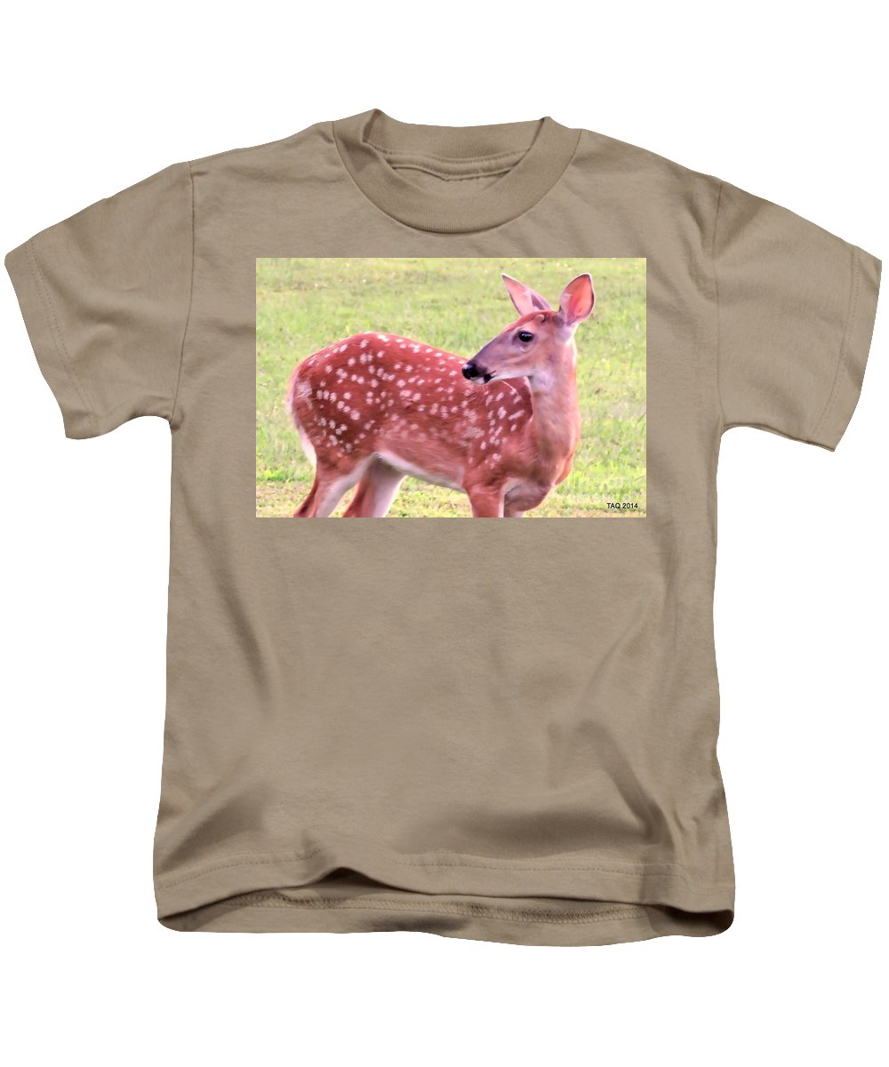 Fawn Kids T-Shirt featuring the photograph Fawn In The Waning Summer by Tami Quigley