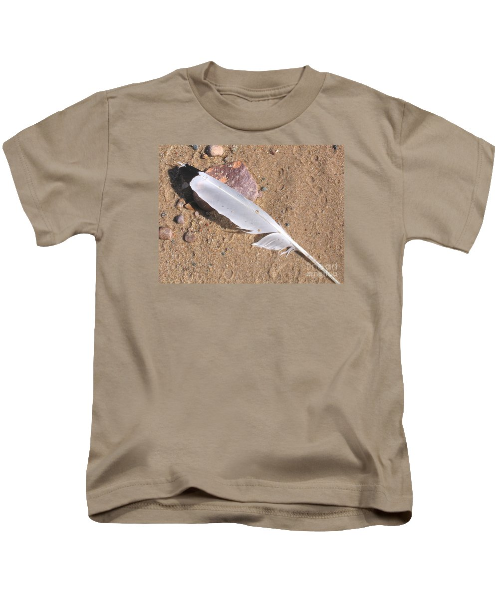 Beach Kids T-Shirt featuring the photograph Feather On Damp Sand by Ann Horn