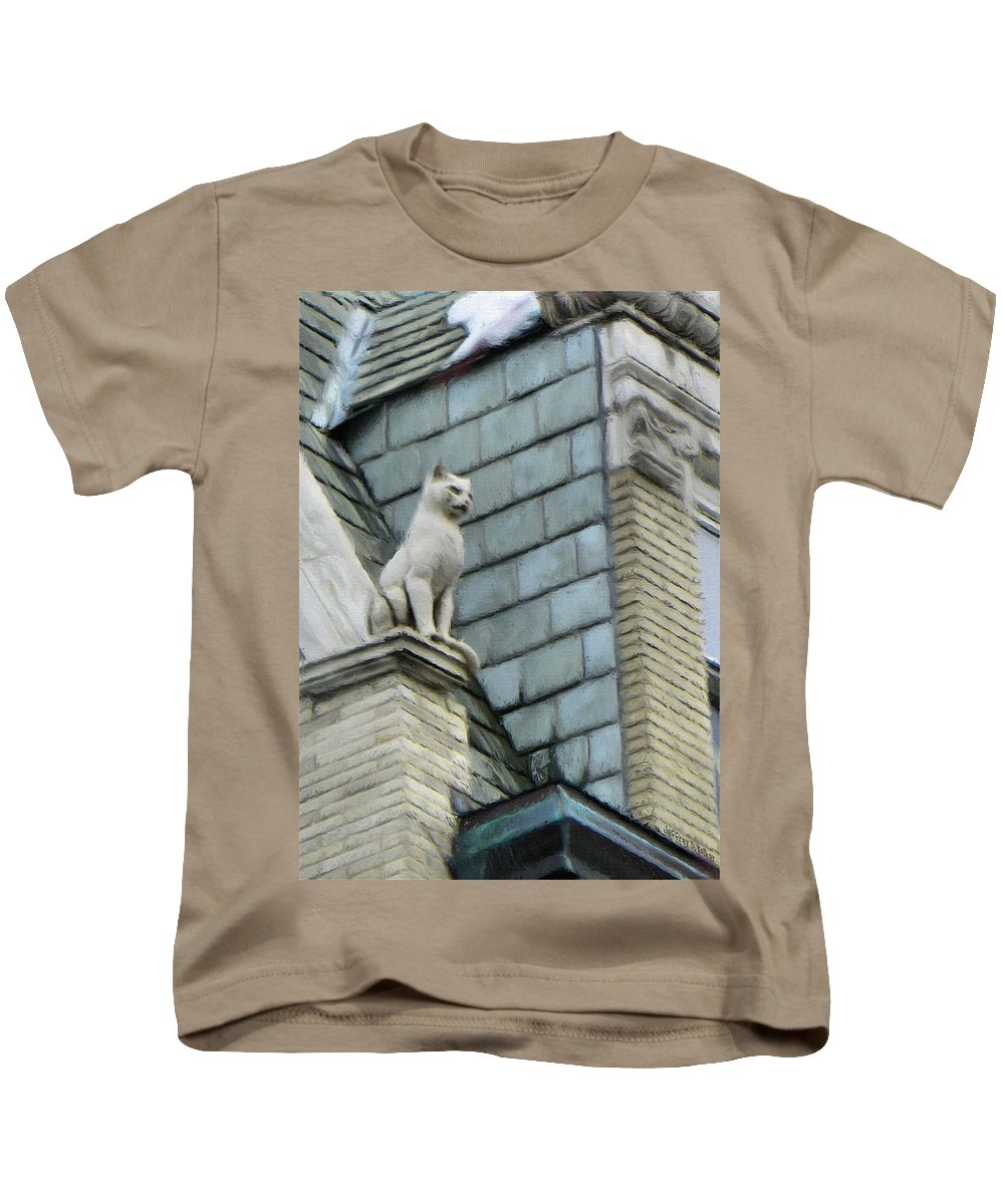 Architecture Kids T-Shirt featuring the painting Feline Sentry by Jeffrey Kolker