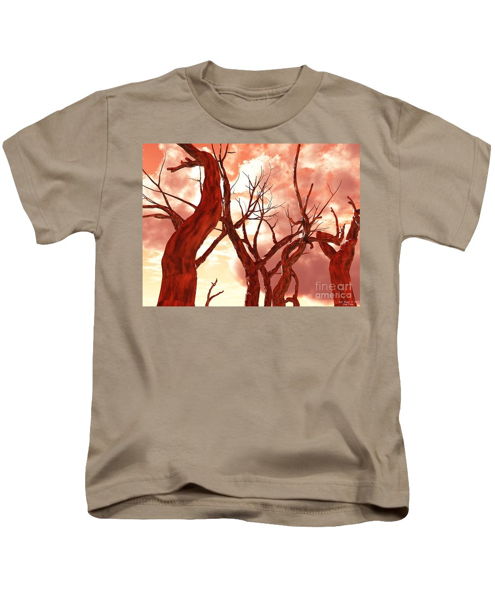 Nature Kids T-Shirt featuring the digital art Fire Trees by Eric Nagel