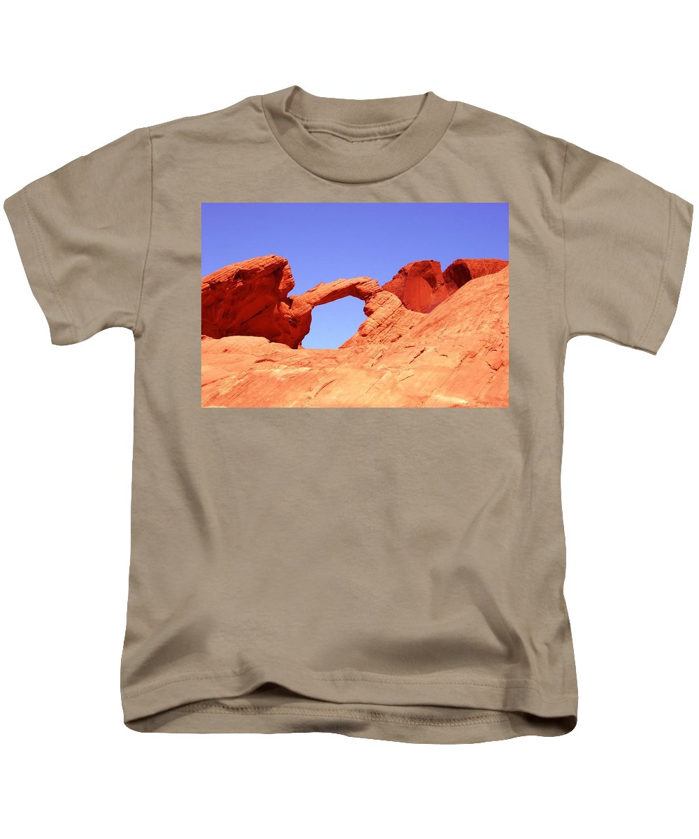 Arch Kids T-Shirt featuring the photograph Fire Valley Arch by DJ Florek