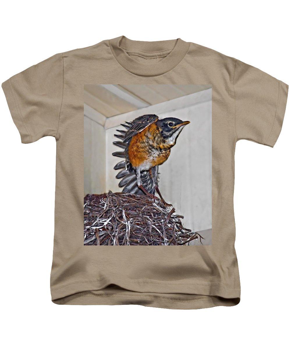 Bird Kids T-Shirt featuring the photograph First Flight Preparations by Steve Harrington