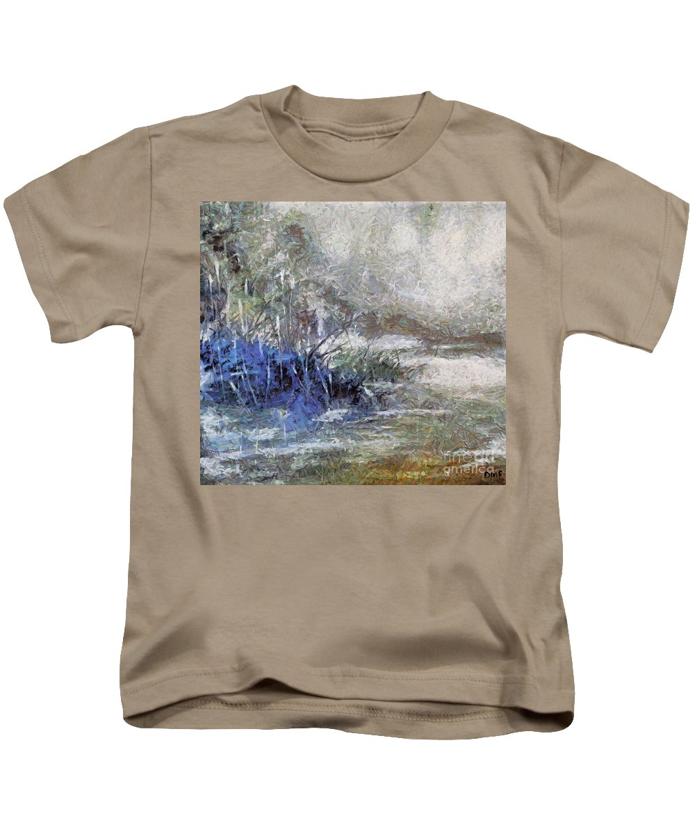 First Snow Kids T-Shirt featuring the painting First Snow by Dragica Micki Fortuna