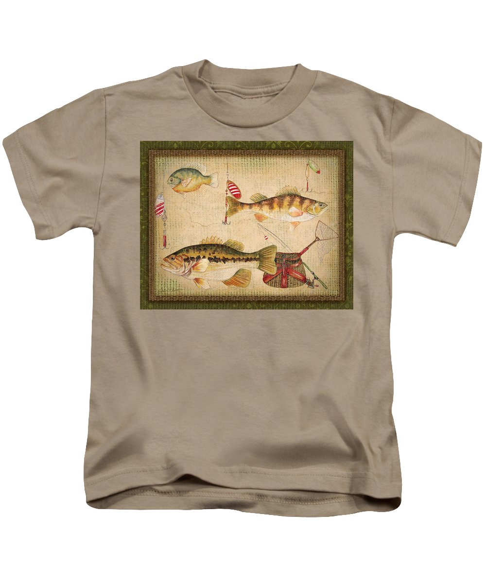 Acrylic Painting Kids T-Shirt featuring the painting Fish Trio-a-greenborder by Jean Plout