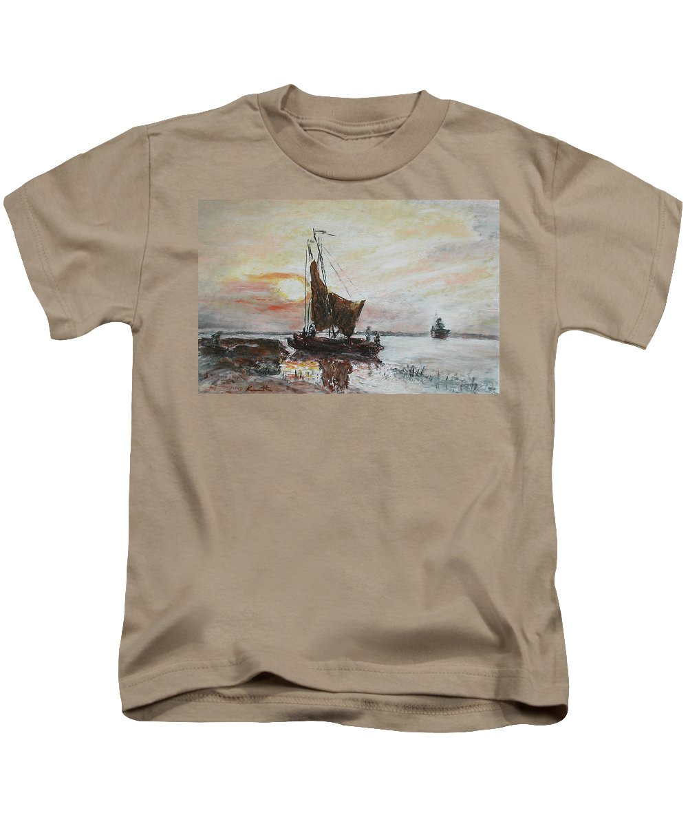 Pastel Kids T-Shirt featuring the pastel Fishermens Sunset by Kenneth Kropf