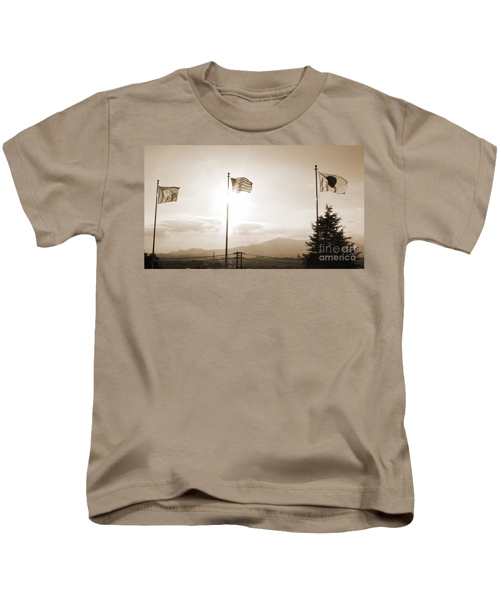Flags Kids T-Shirt featuring the photograph Flags Of Camp Zama 6 by Jay Mann
