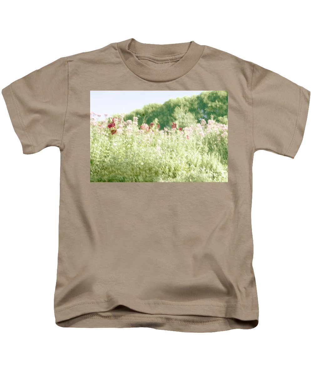 Water; Reflection; Trees; Plants; Flowers; Nature; Botanic; Botanical; Garden; Gardens; Ripples; Abstract; Impressionistic; Surreal Kids T-Shirt featuring the photograph Floral Impressions by Margie Hurwich
