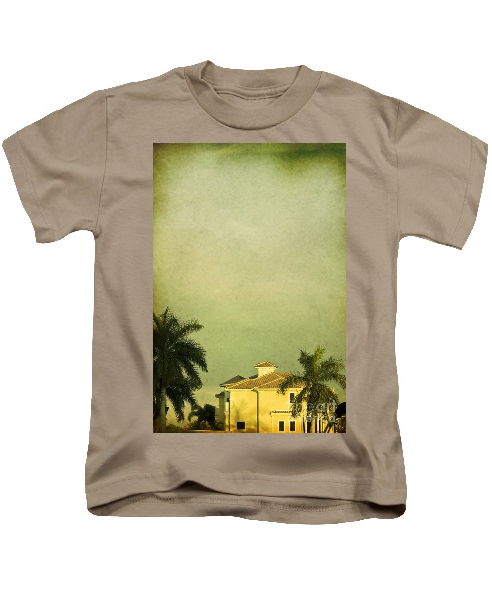 Summer; House; Home; Outside; Outdoors; Florida; Floridian; Mansion; Sunset; Palm; Tree; Palm Tree; Sky; Nobody; Expensive; Retreat; Tower; Naples; Palace; Architecture; Roof; Windows Kids T-Shirt featuring the photograph Floridian by Margie Hurwich