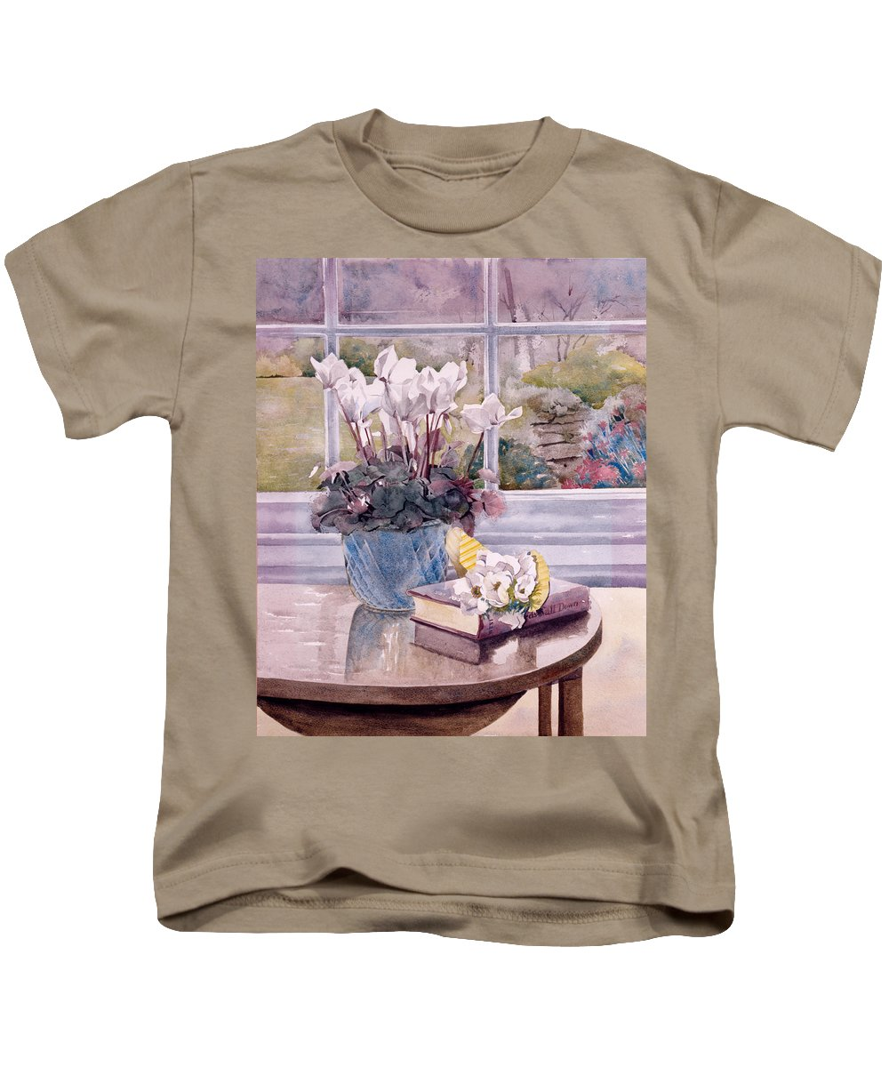Book Kids T-Shirt featuring the photograph Flowers And Book On Table by Julia Rowntree