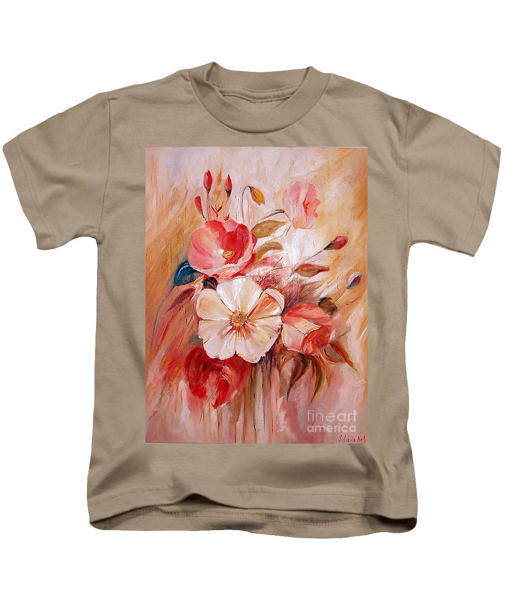 Abstract Kids T-Shirt featuring the painting Flowers I by Silvana Abel