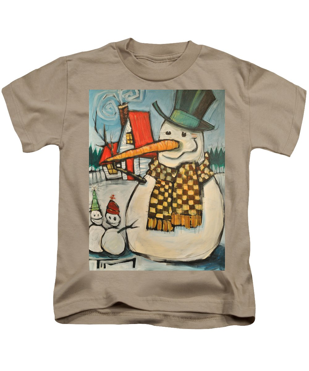 Snowman Kids T-Shirt featuring the painting Frosty Family by Tim Nyberg