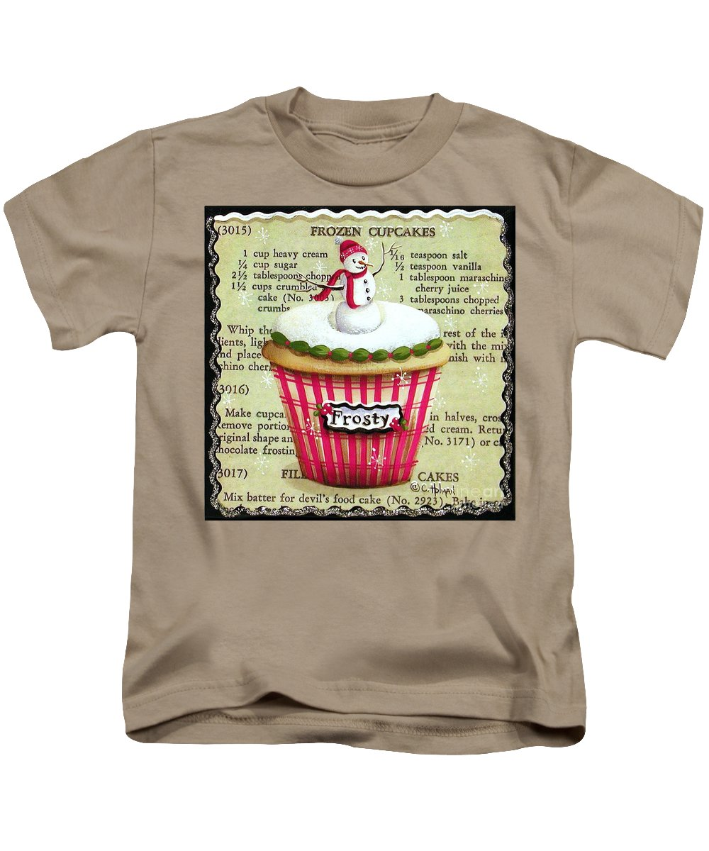 Art Kids T-Shirt featuring the painting Frozen Frosty Cupcake by Catherine Holman