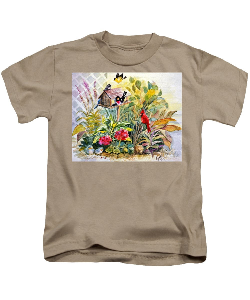 Birds Kids T-Shirt featuring the painting Garden Birds by Marilyn Smith