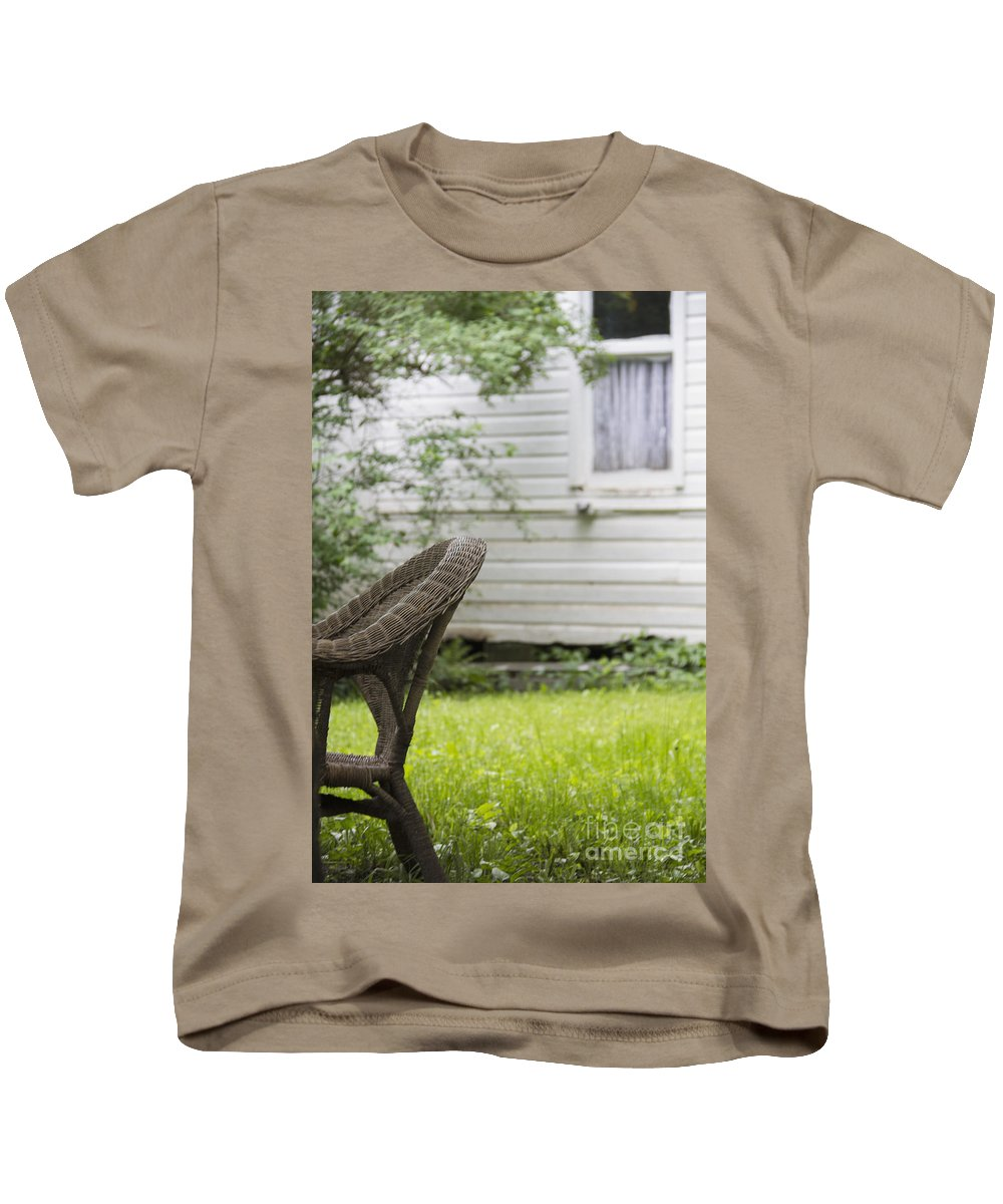 Chair Kids T-Shirt featuring the photograph Garden Seat by Margie Hurwich