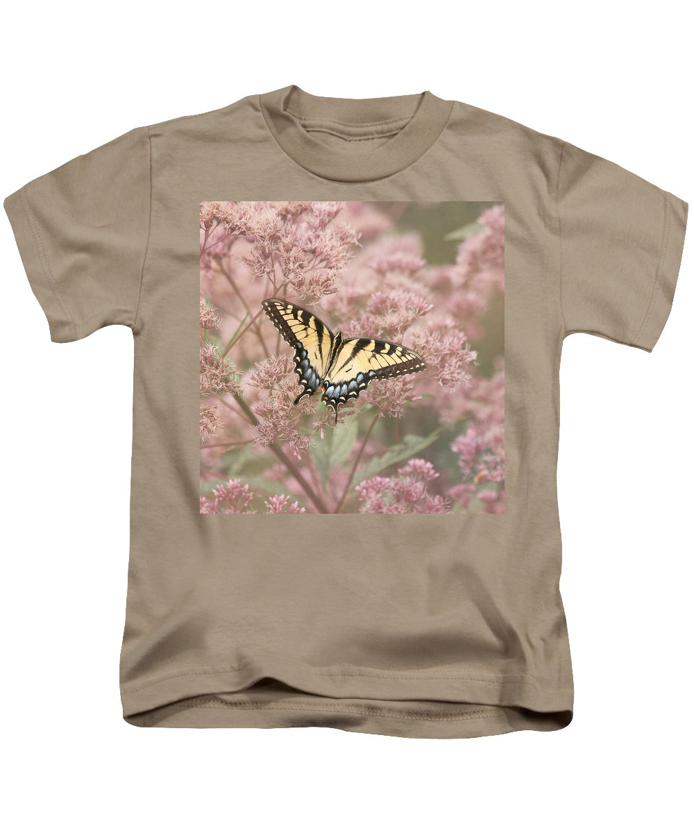 Tiger Swallowtail Butterfly Kids T-Shirt featuring the photograph Garden Visitor - Tiger Swallowtail by Kim Hojnacki