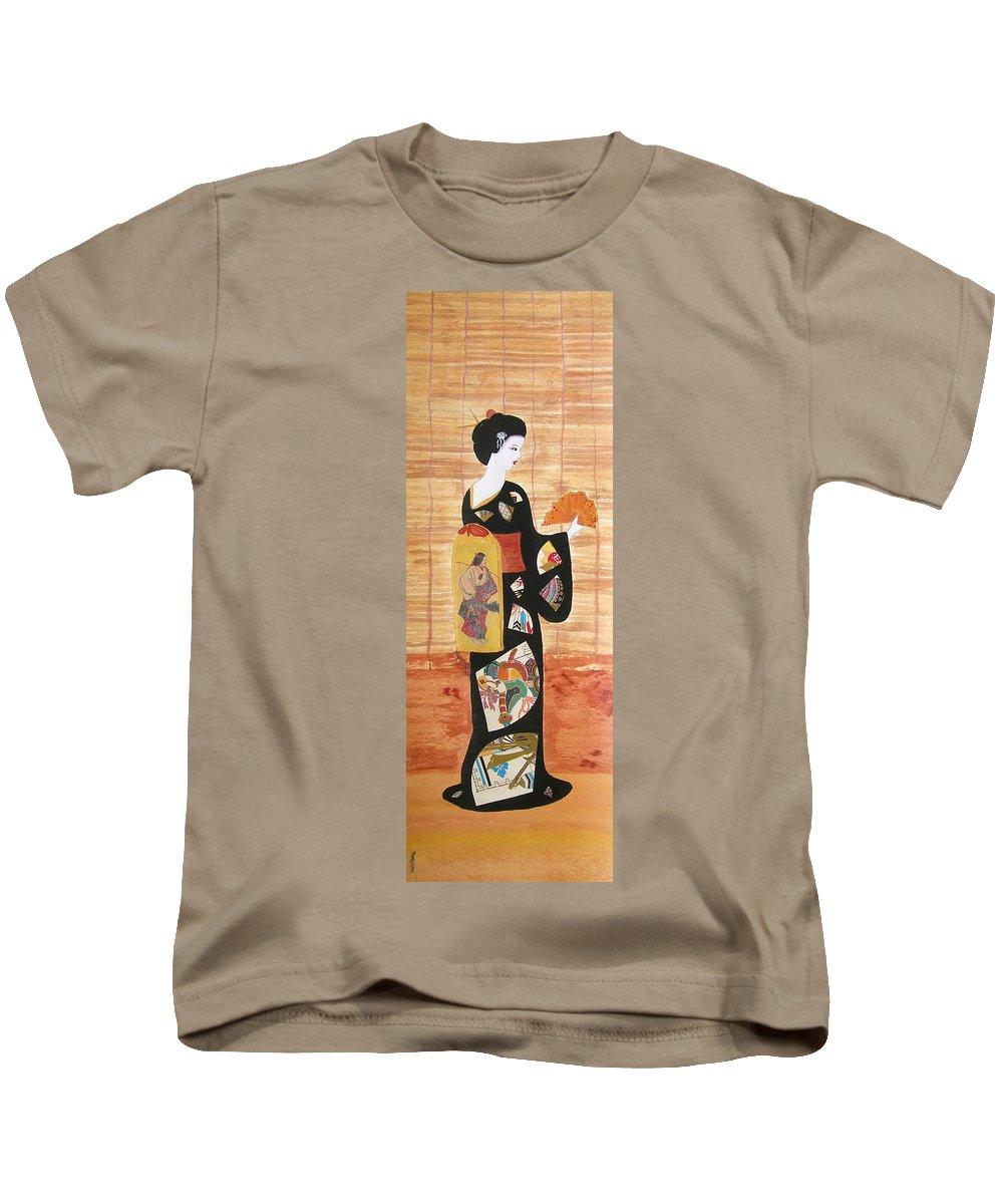 Mixed Media Kids T-Shirt featuring the painting Geisha by Mini Arora