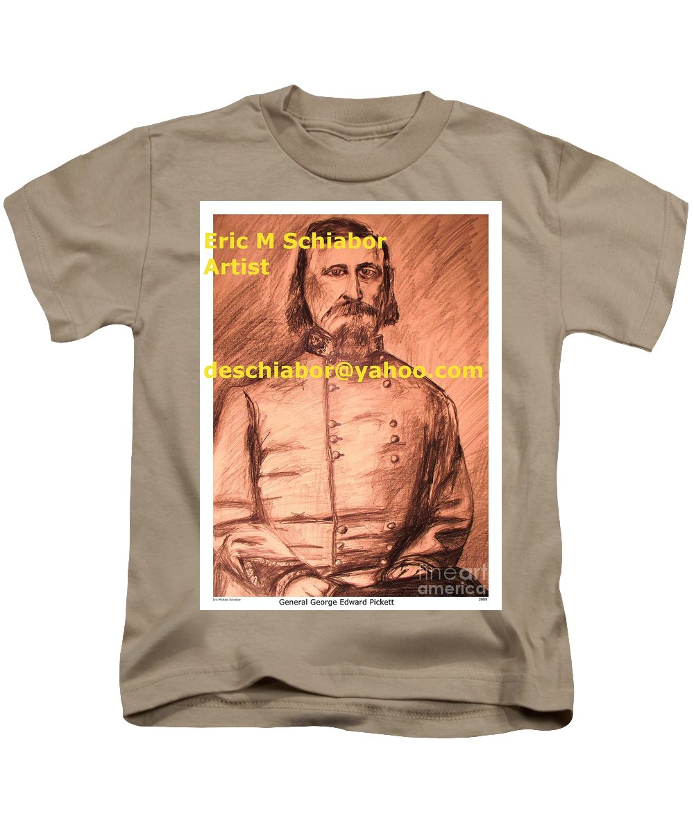 General Pickett Kids T-Shirt featuring the painting General Pickett Confederate by Eric Schiabor