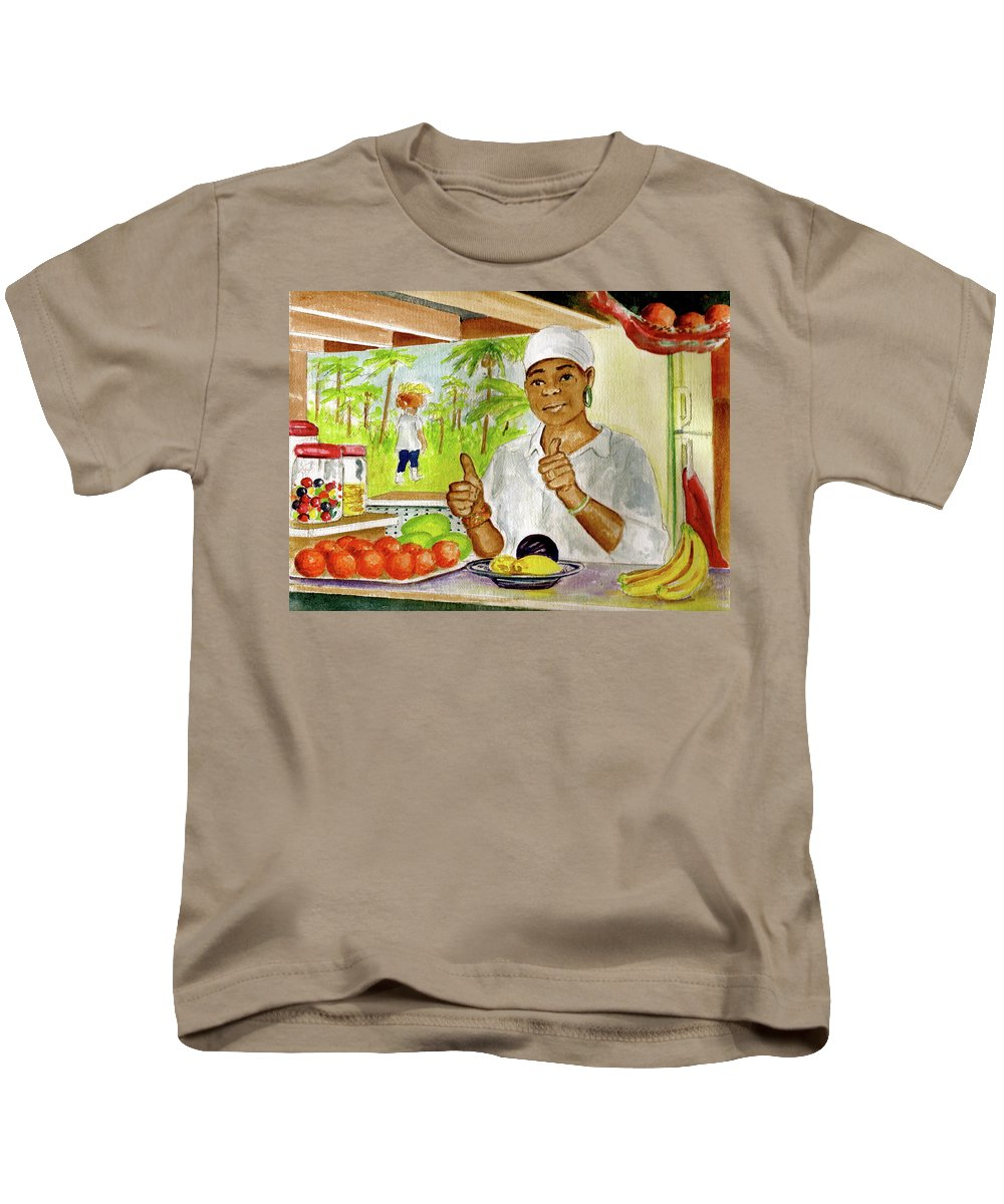 Dominica Girl Fruit Mountain Thumbs Up Basket On Head Jaco Falls Kids T-Shirt featuring the painting Girl In Dominica Mountains by Frank Hunter