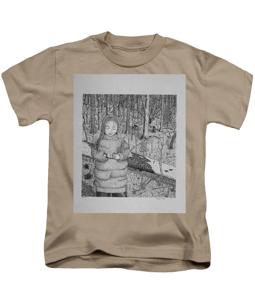 Girl Kids T-Shirt featuring the drawing Girl In The Forest by Daniel Reed