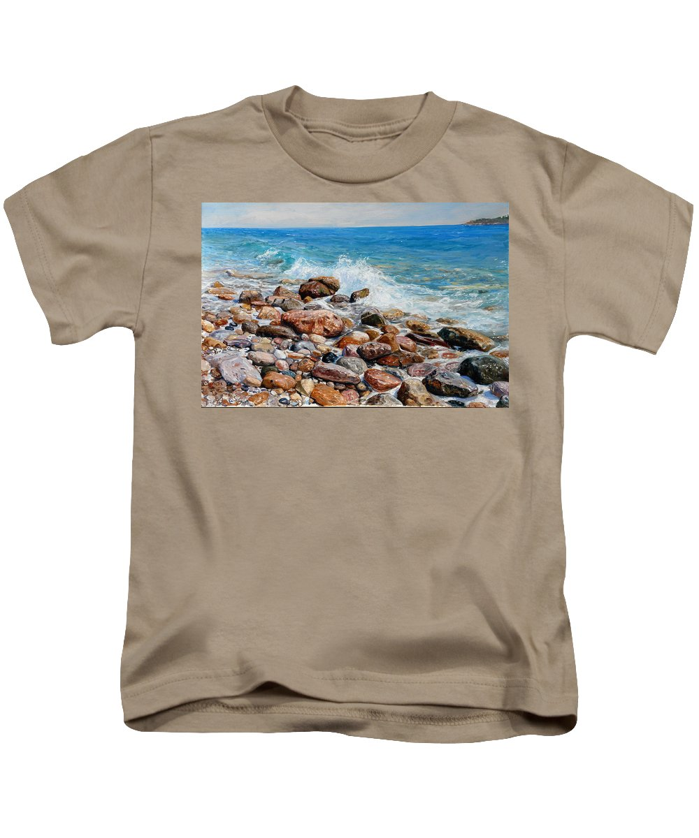 Seascape Kids T-Shirt featuring the painting Glyfada Greece by Sefedin Stafa