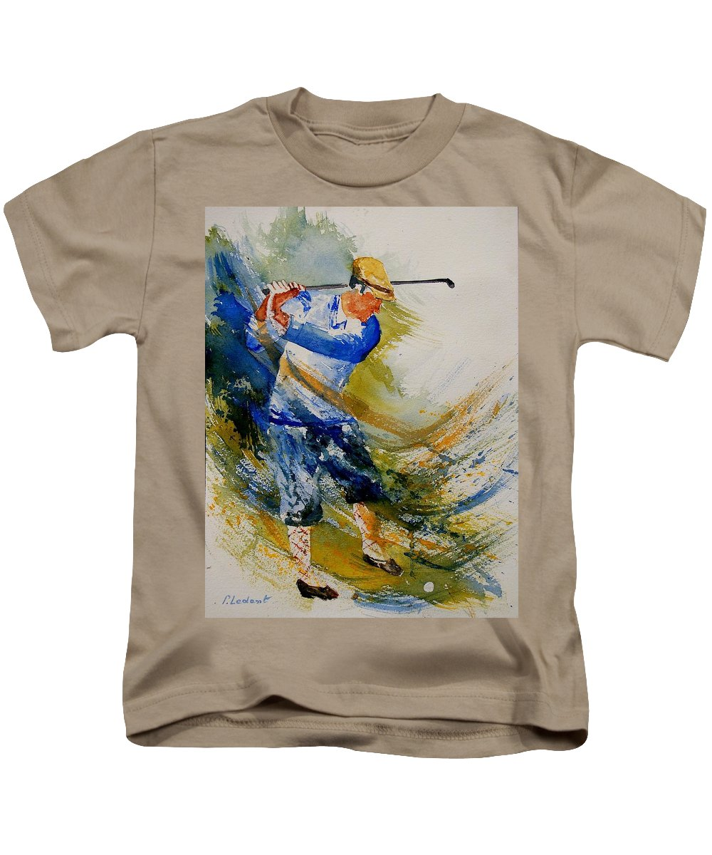 Golf Kids T-Shirt featuring the painting Golf Player by Pol Ledent