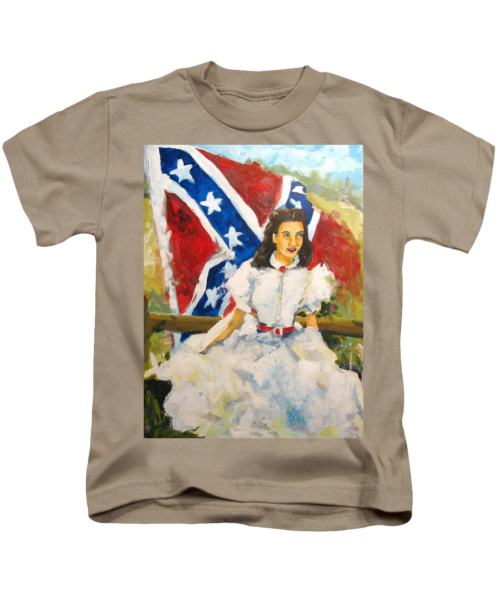 Scarlett Kids T-Shirt featuring the painting Gone With The Wind by Susan Elizabeth Jones