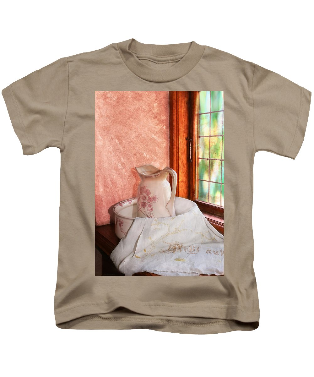 Pitcher Kids T-Shirt featuring the photograph Good Morning- Vintage Pitcher And Wash Bowl by Guna Andersone