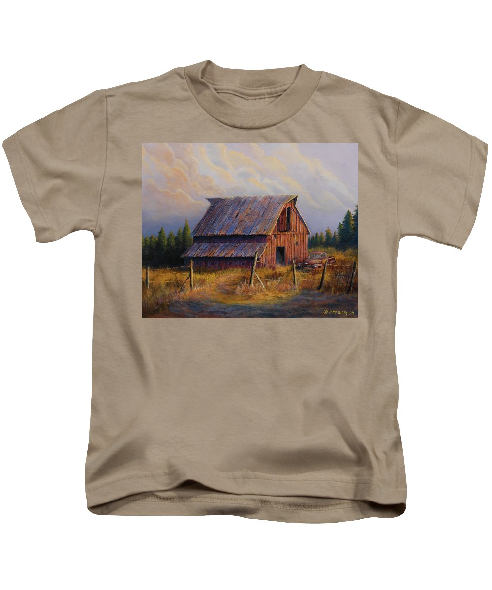 Barn Kids T-Shirt featuring the painting Grandpas Truck by Jerry McElroy