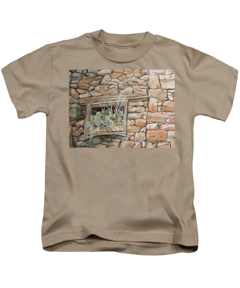 Wall Kids T-Shirt featuring the painting Grass In The Window by Jenny Armitage