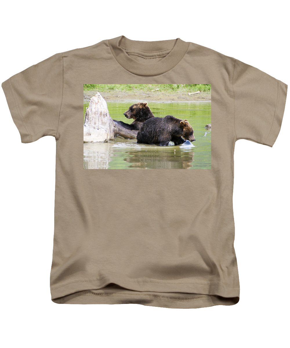 Alaska Kids T-Shirt featuring the photograph Grizzly Bears by Kyle Lavey
