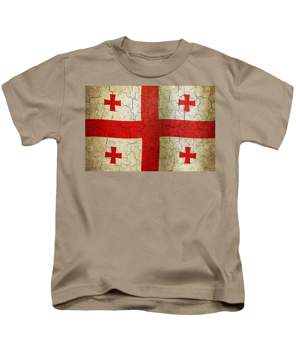 Aged Kids T-Shirt featuring the digital art Grunge Georgia Flag by Steve Ball