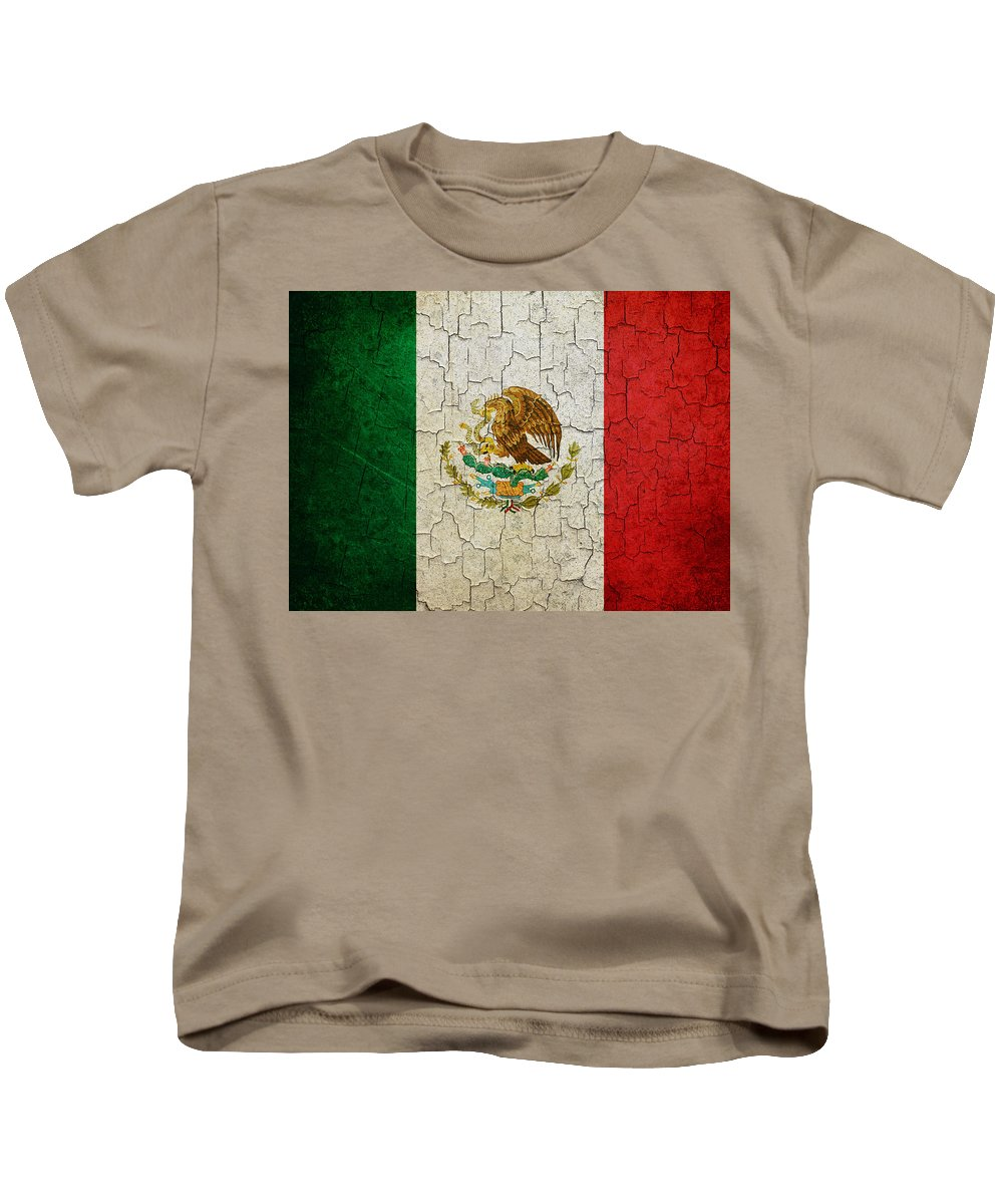 Aged Kids T-Shirt featuring the digital art Grunge Mexico Flag by Steve Ball