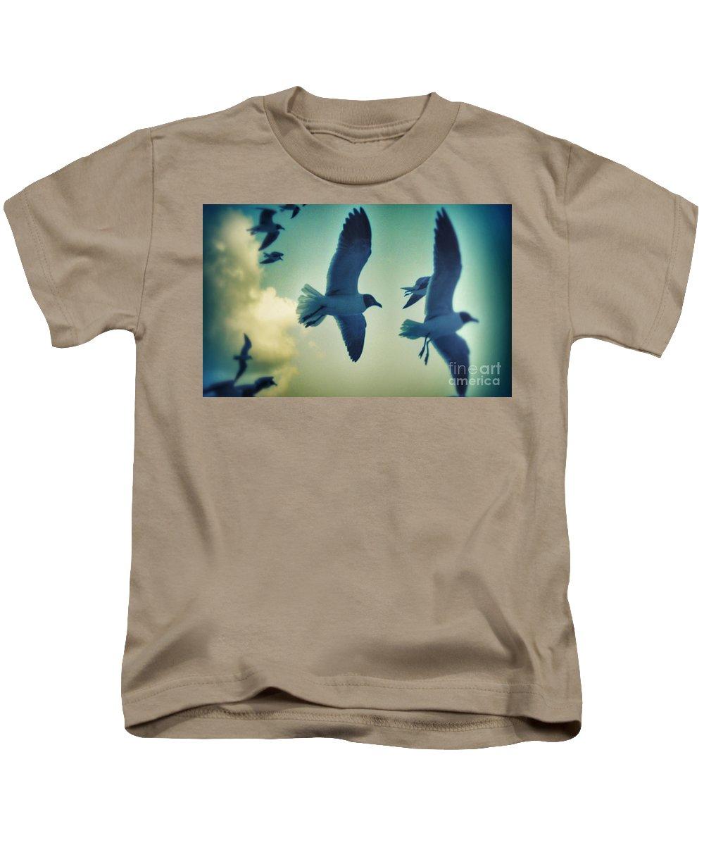Seagulls Kids T-Shirt featuring the photograph Gulls by Paulo Guimaraes