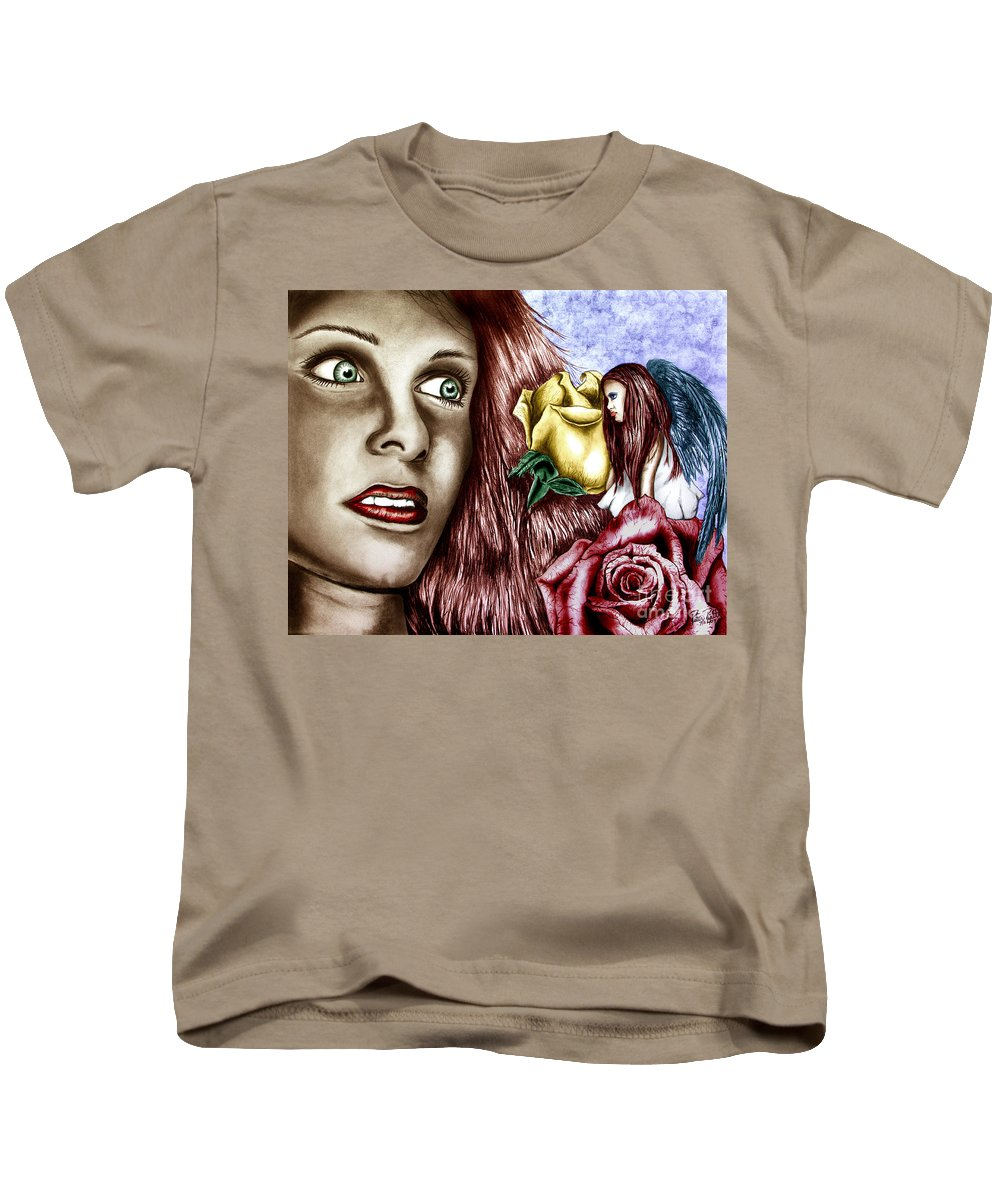 Haleys Apparition Kids T-Shirt featuring the drawing Haleys Apparition Colored by Peter Piatt