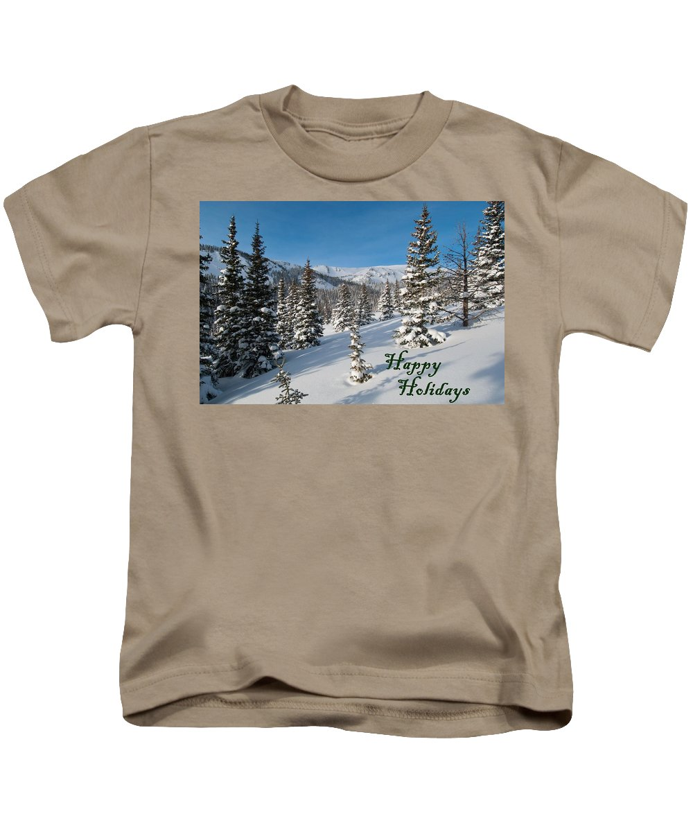 Happy Holidays Kids T-Shirt featuring the photograph Happy Holidays - Winter Wonderland by Cascade Colors