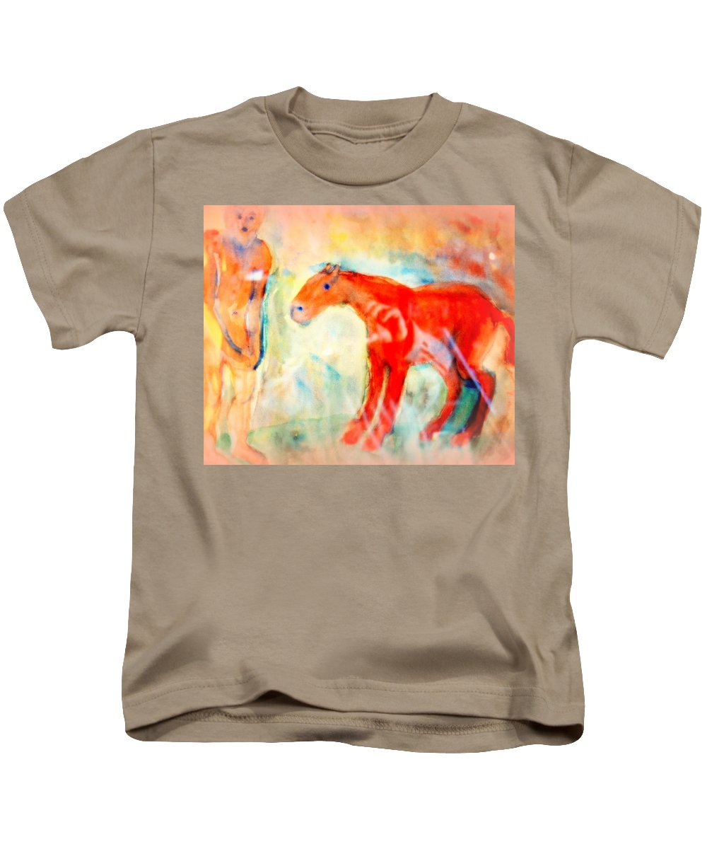 Ride Kids T-Shirt featuring the painting You Could Always Have A Ride After All It Is Your Birthday by Hilde Widerberg