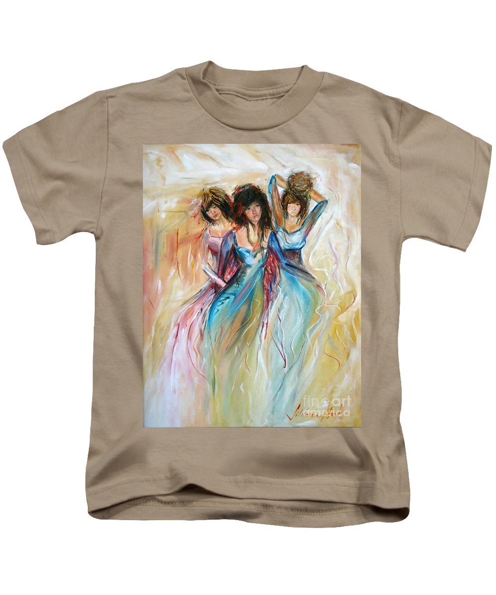 Contemporary Art Kids T-Shirt featuring the painting Having Fun by Silvana Abel