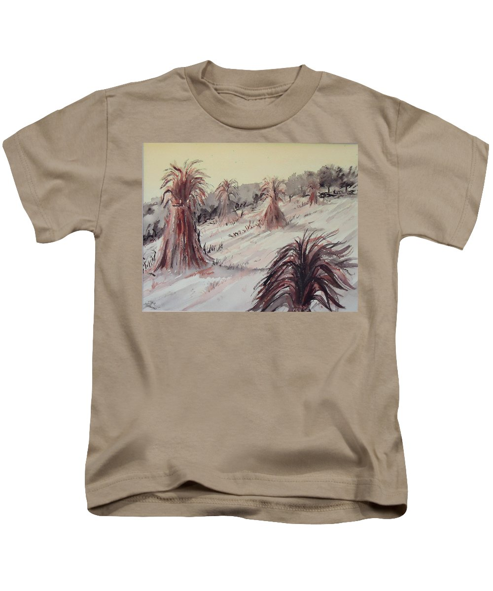 Field Kids T-Shirt featuring the painting Hay Days Of Autumn by Charme Curtin