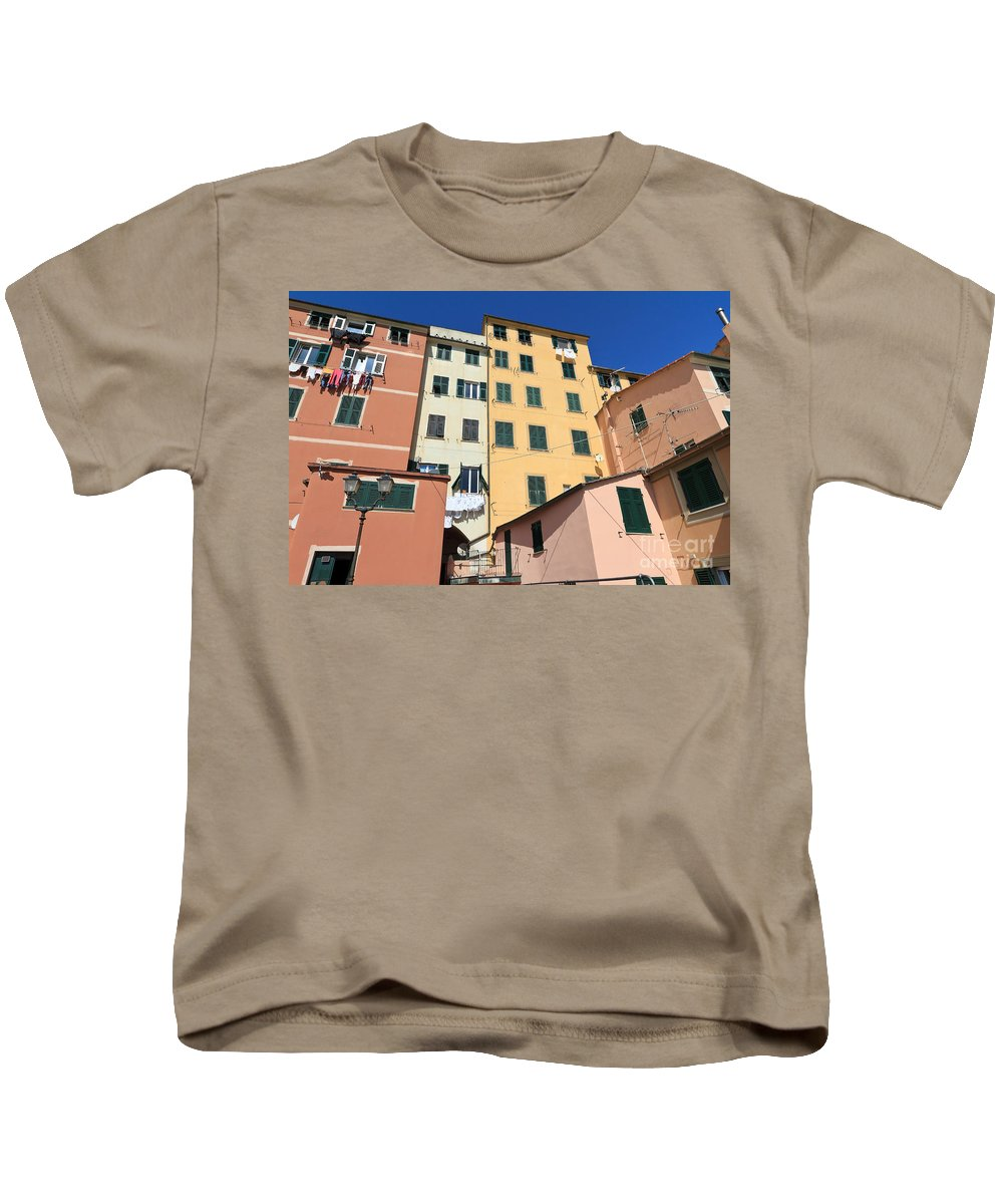 Ancient Kids T-Shirt featuring the photograph homes in Sori - Italy by Antonio Scarpi