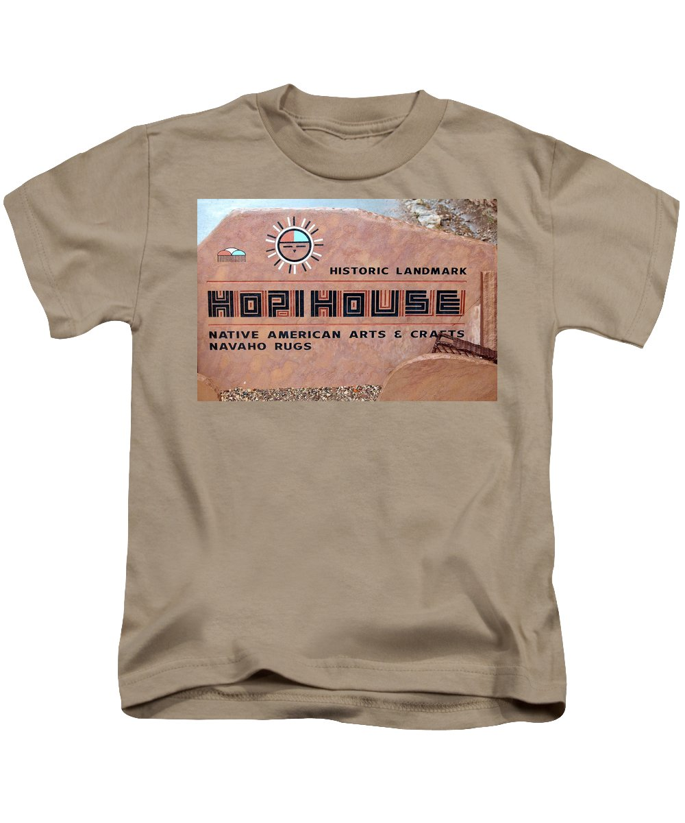 Sign Kids T-Shirt featuring the photograph Hopihouse Sign by Cynthia Guinn