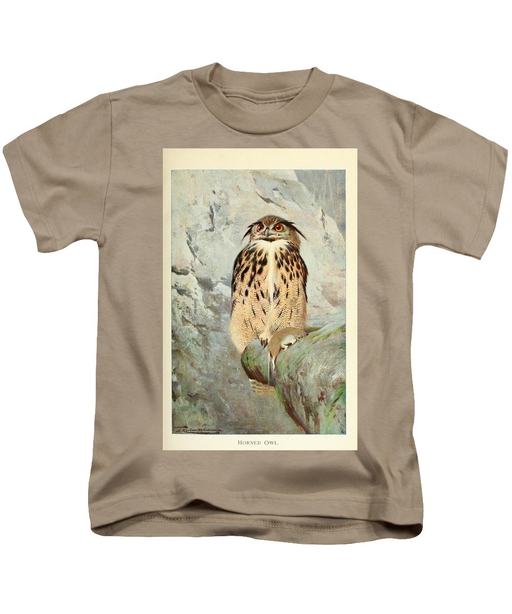 Horned Kids T-Shirt featuring the painting Horned Owl by Philip Ralley