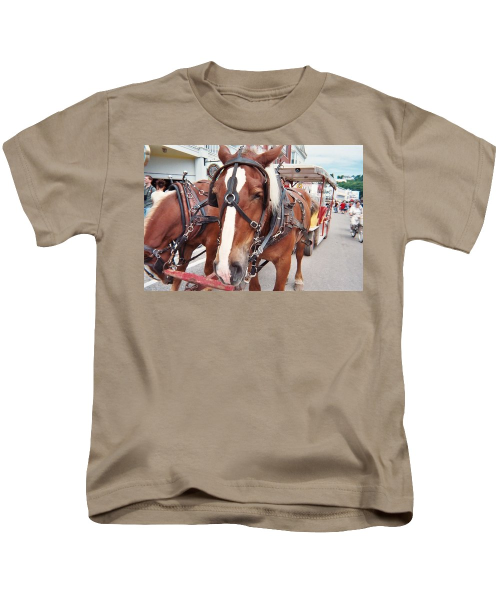 Horses Kids T-Shirt featuring the photograph Horses by Jo Dawkins